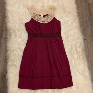 Anthropologie Floreat Burgundy Lattice Dress